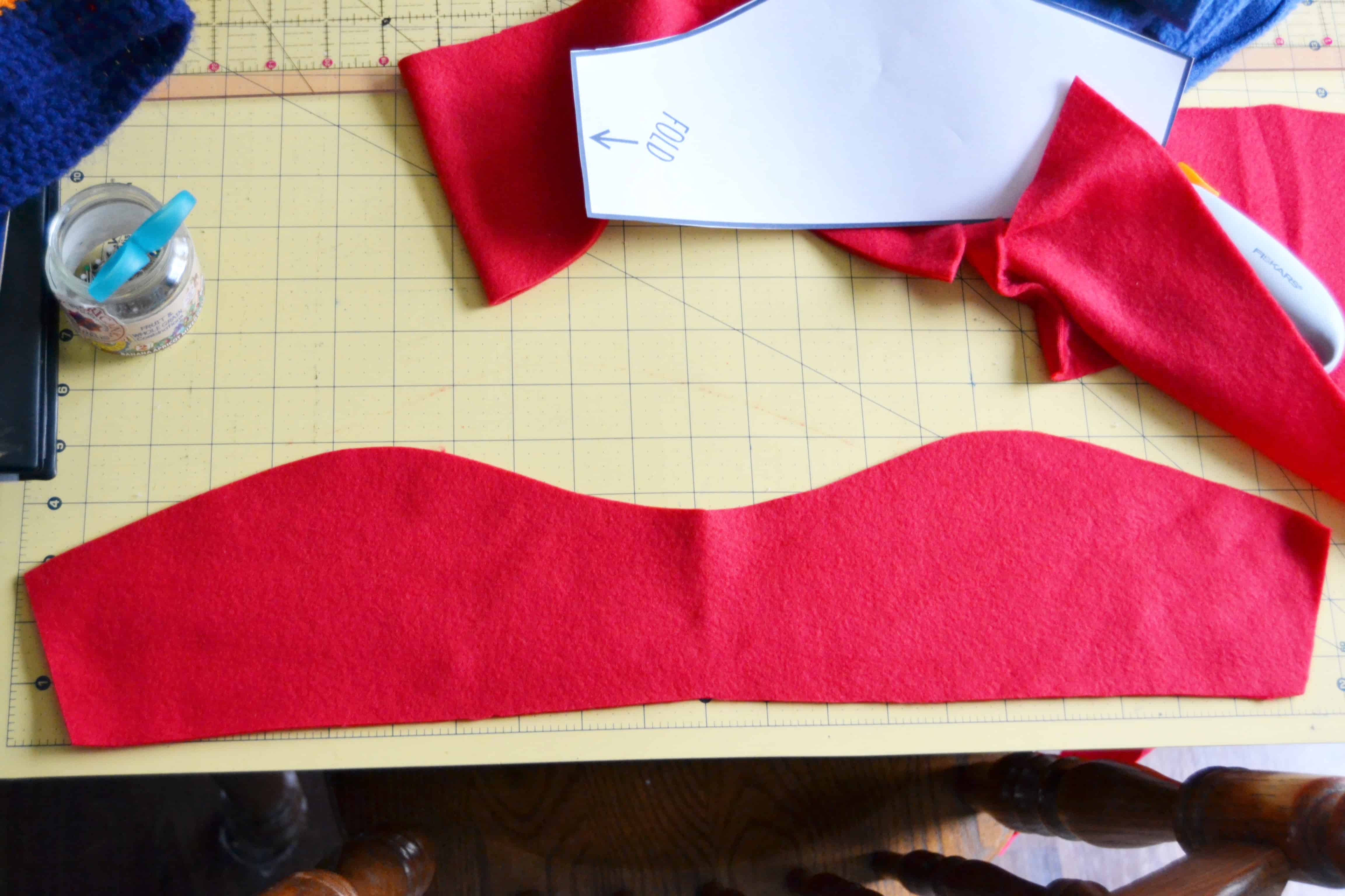 the cut out fabric unfolded