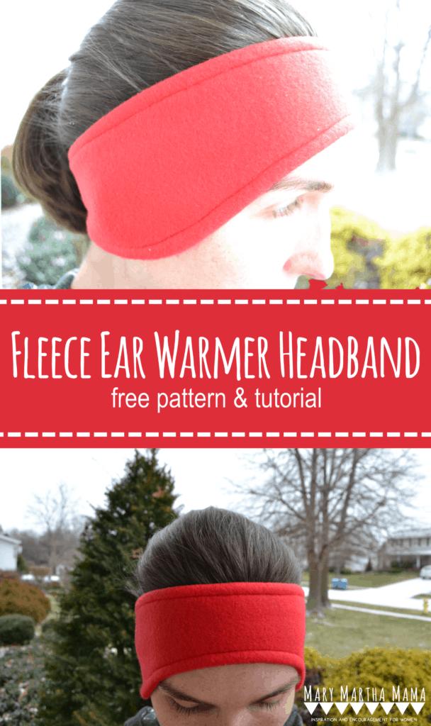 Follow this simple tutorial to make a fleece earwarmer headband using the free printable pattern. #fleeceearwarmerheadband