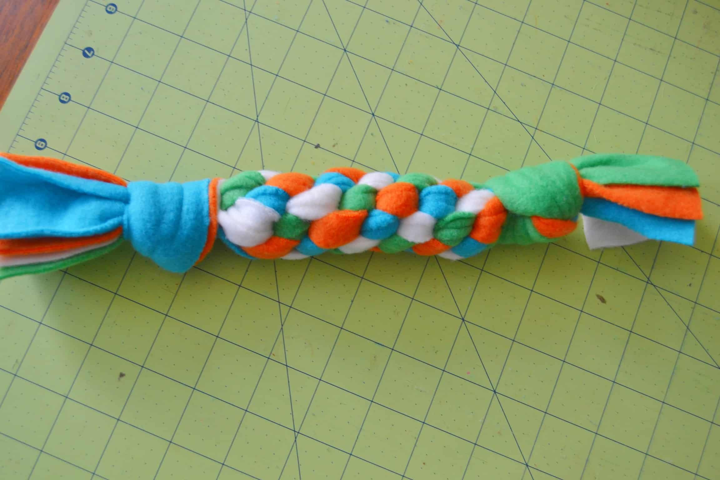 the dog toy finished and knotted off
