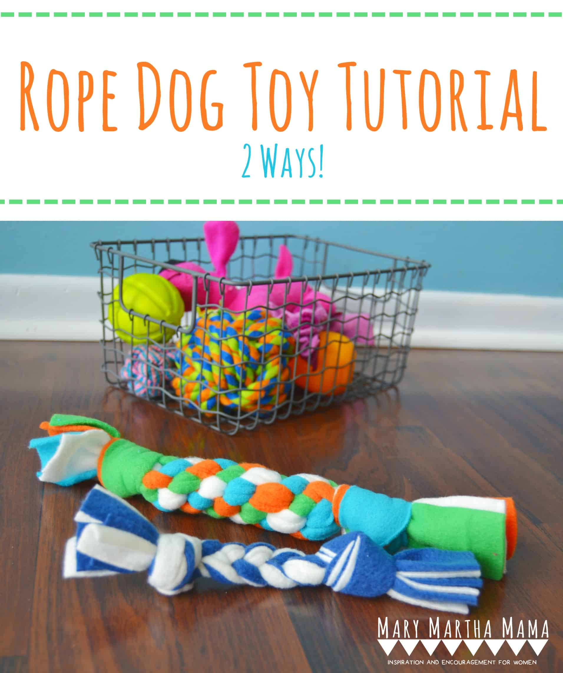 Follow this DIY Fleece Dog Toy Tutorial to learn how to make 2 types of homemade fleece dog toys. #diyfleecedogtoys #homemadefleecedogtoys