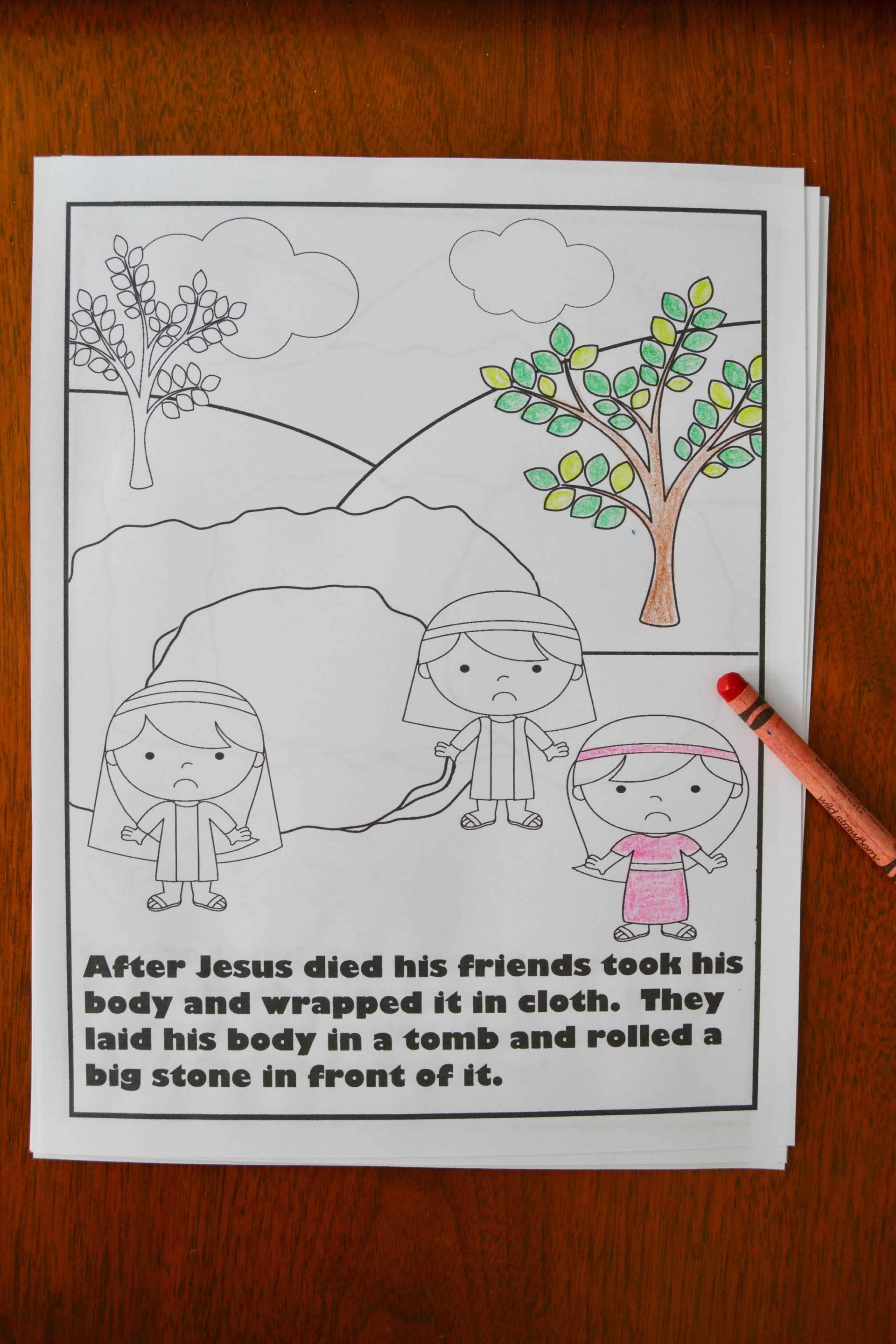 picture of one of the religious Easter coloring pages where Jesus' friends take his body to the tomb