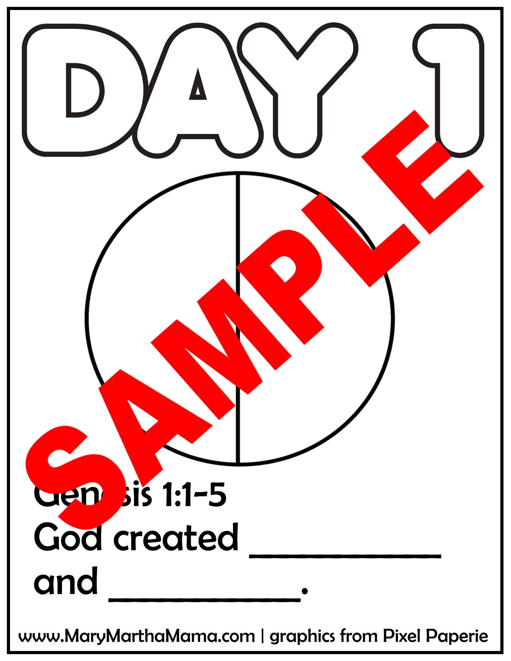 sample of one of the creation coloring pages