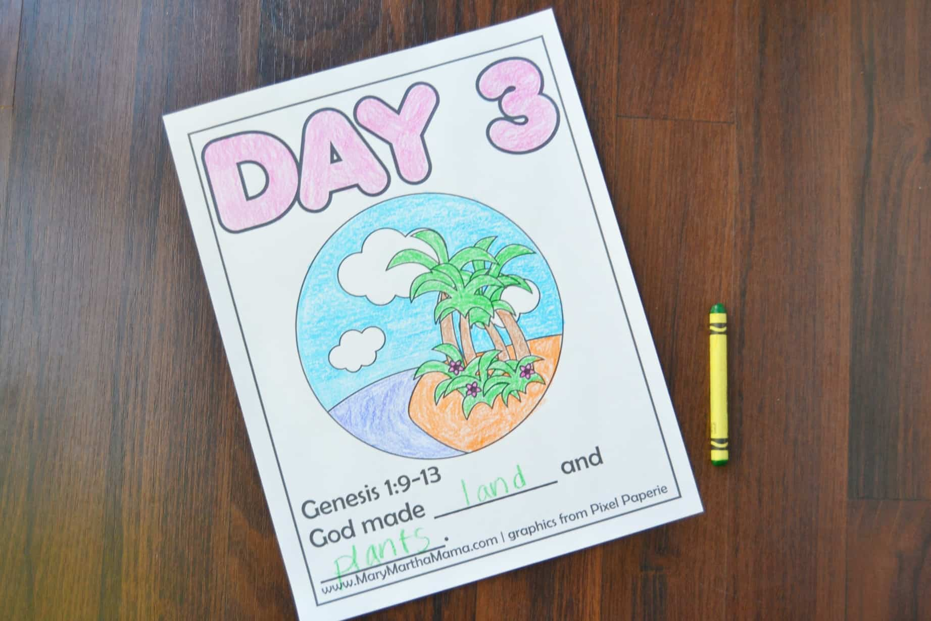 creation coloring pages day 3 page with Bible verse and picture to color