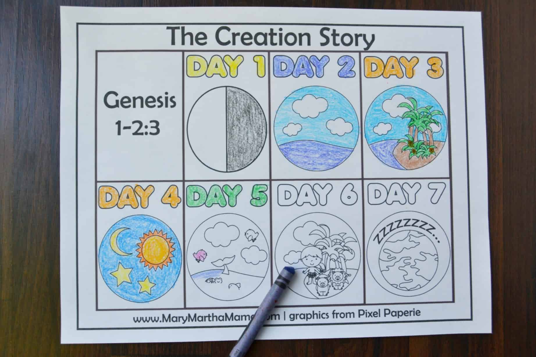 These fun creation coloring pages help preschool and early elementary children to learn the creation story from the Bible.