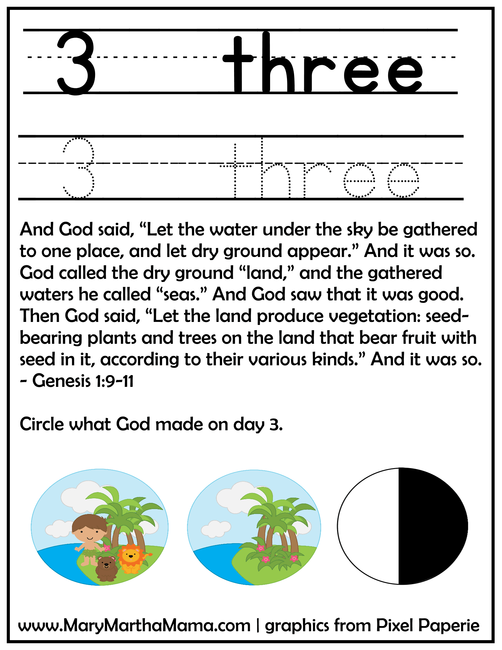 creation day 3 activity page