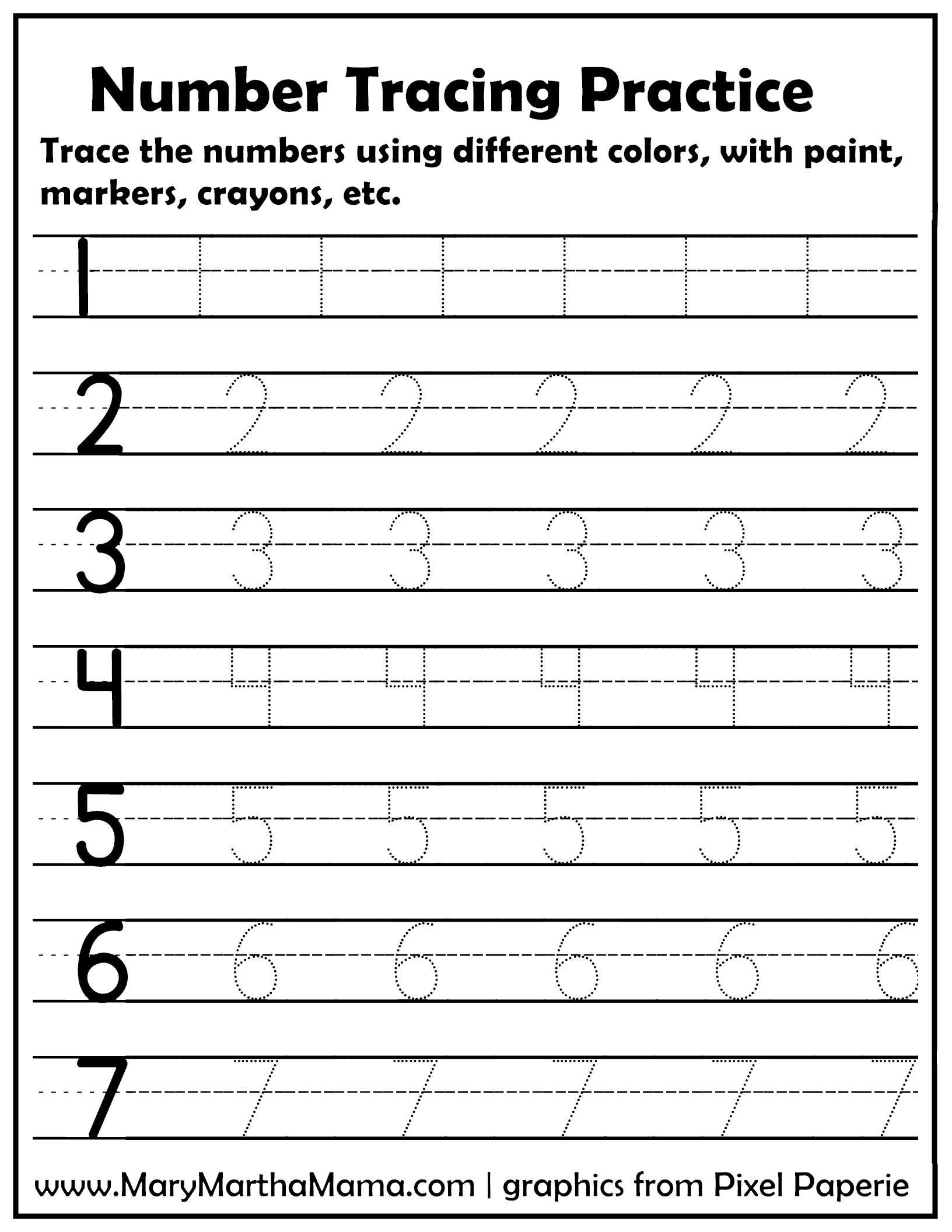 number tracing page
