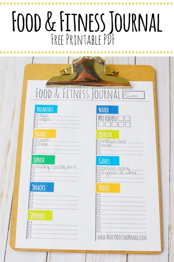 picture about Printable Fitness Journals named Nutritious Mama 2.0 [7 days 5] Food items Health Magazine Mary