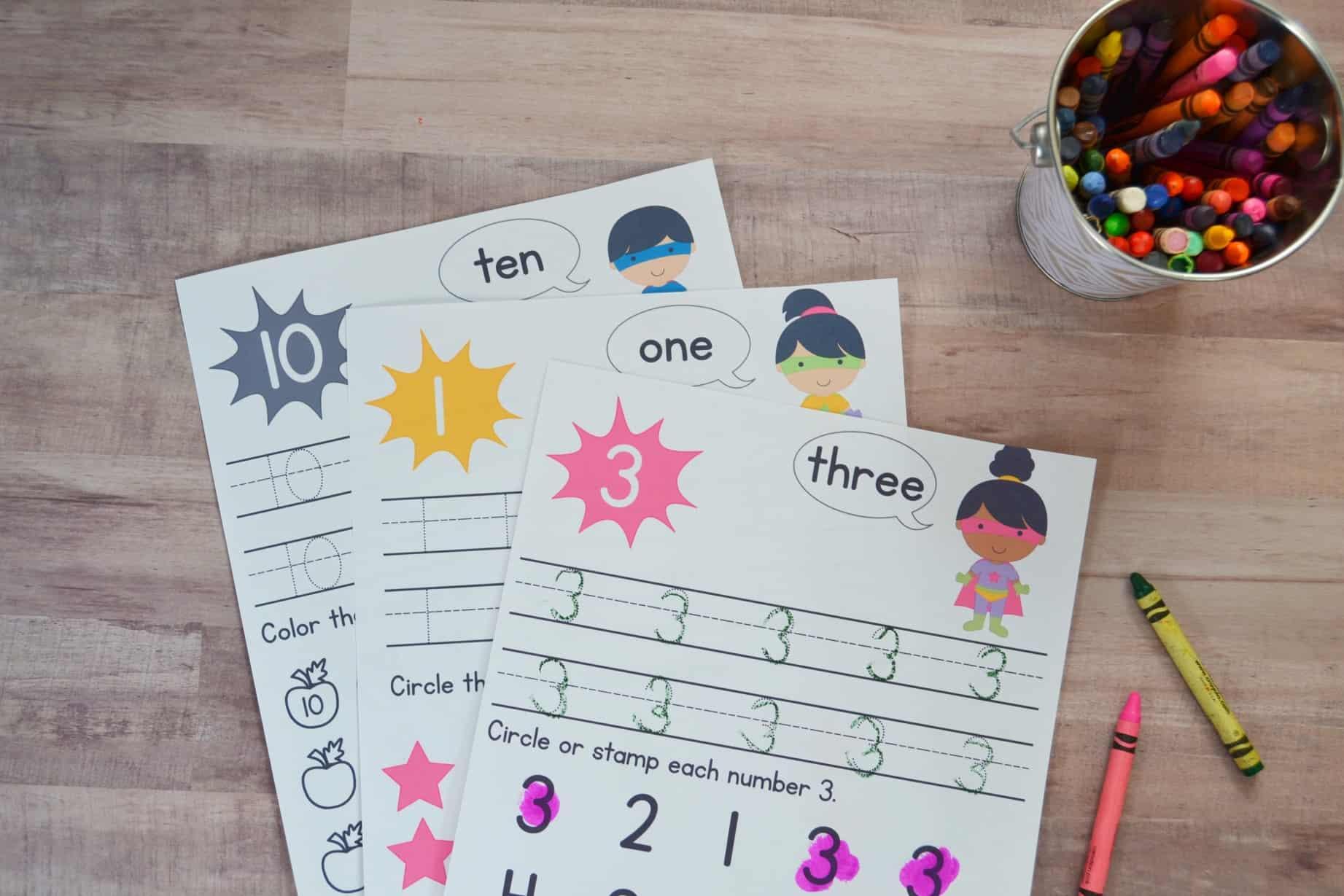 Super Hero Preschool Number Worksheets [Numbers 1-10] – Mary Martha Mama