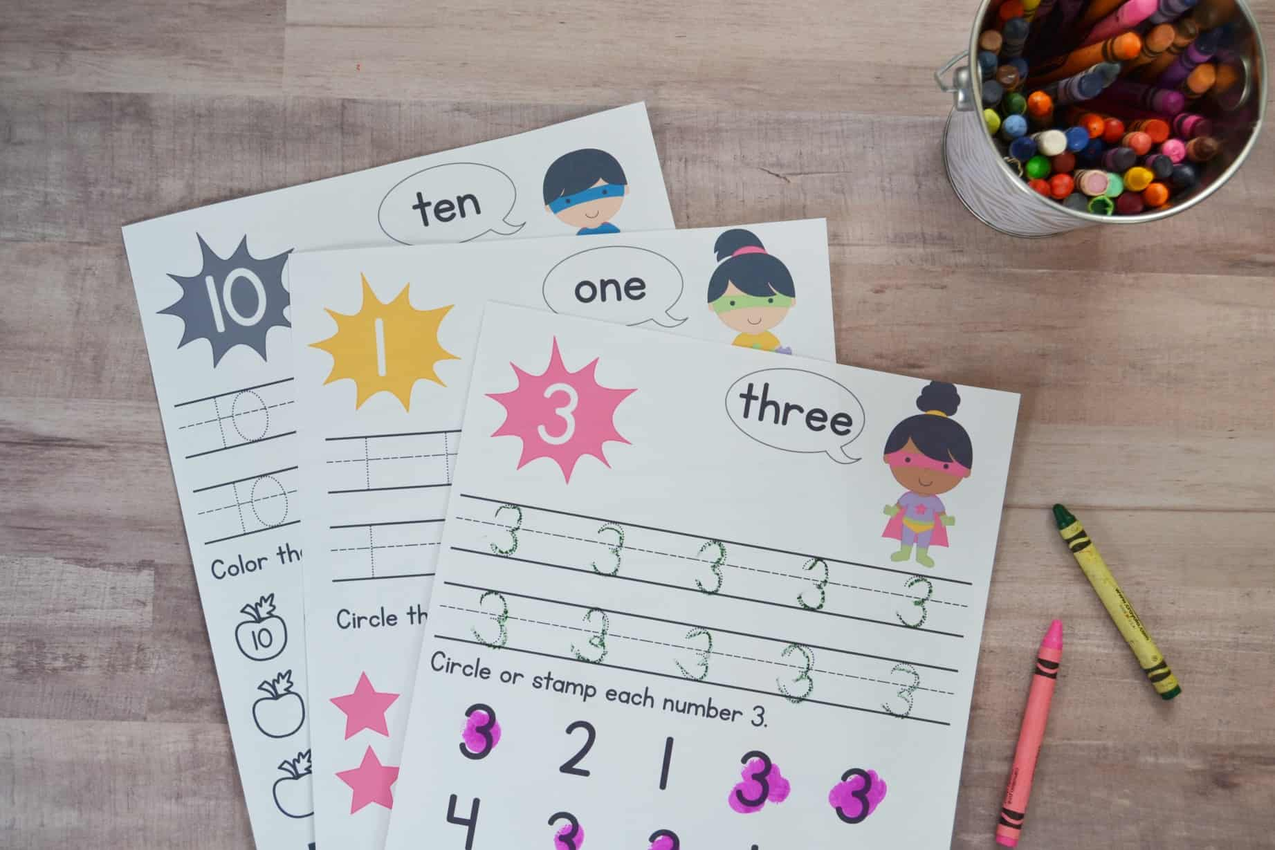 preschool number worksheets