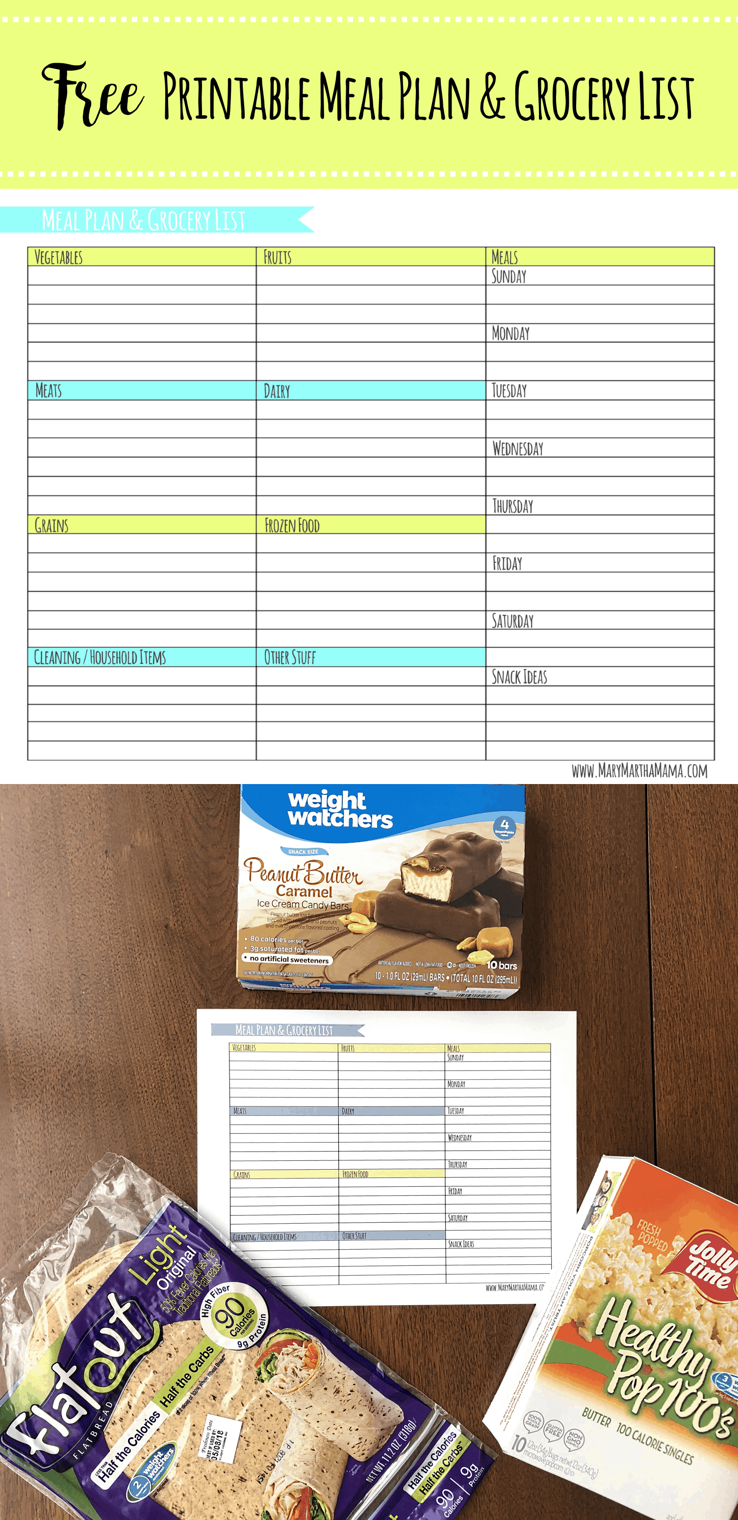 weekly meal planner template with grocery list mary martha mama