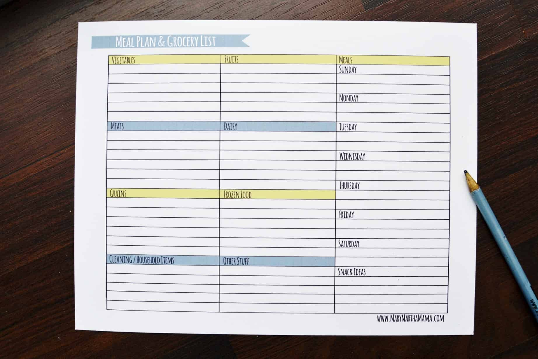 Weekly Meal Planner Template with Grocery List – Mary Martha Mama