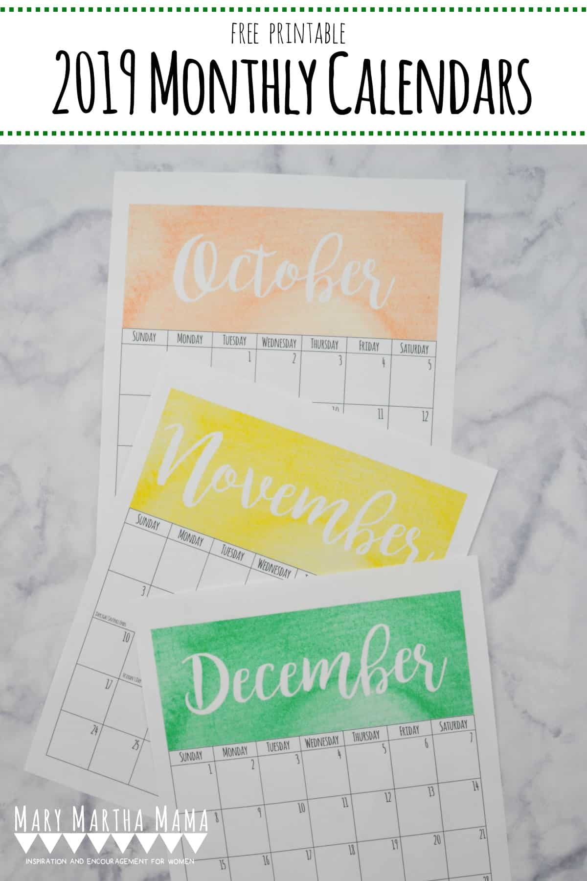 Printable 2019 Calendars to Get You Organized this Year ...