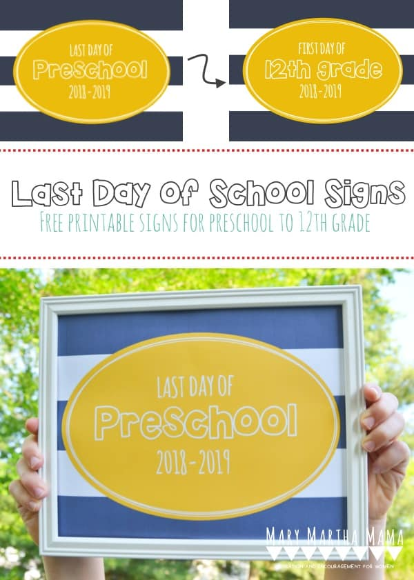 graphic relating to First Day of Preschool Sign Free Printable referred to as Past Working day of University Symptoms 2019 (Totally free Printables) Mary