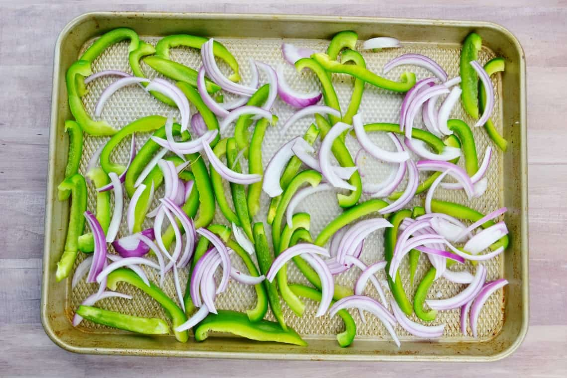 green peppers and onion slices