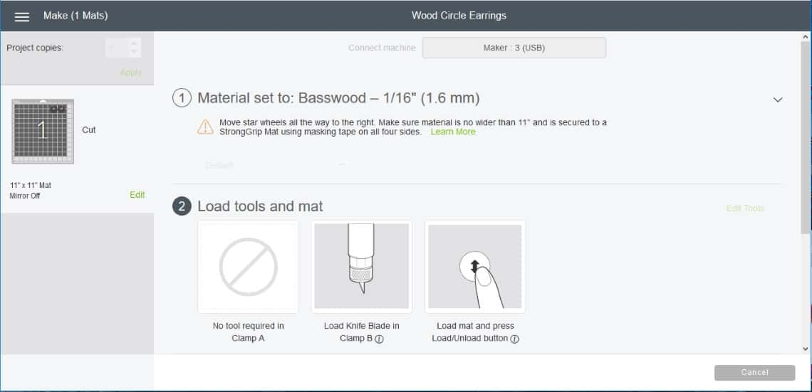 screenshot of Cricut Design space showing how to load tools and mat