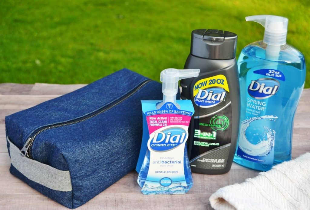 diy toiletries bag with body wash and soap
