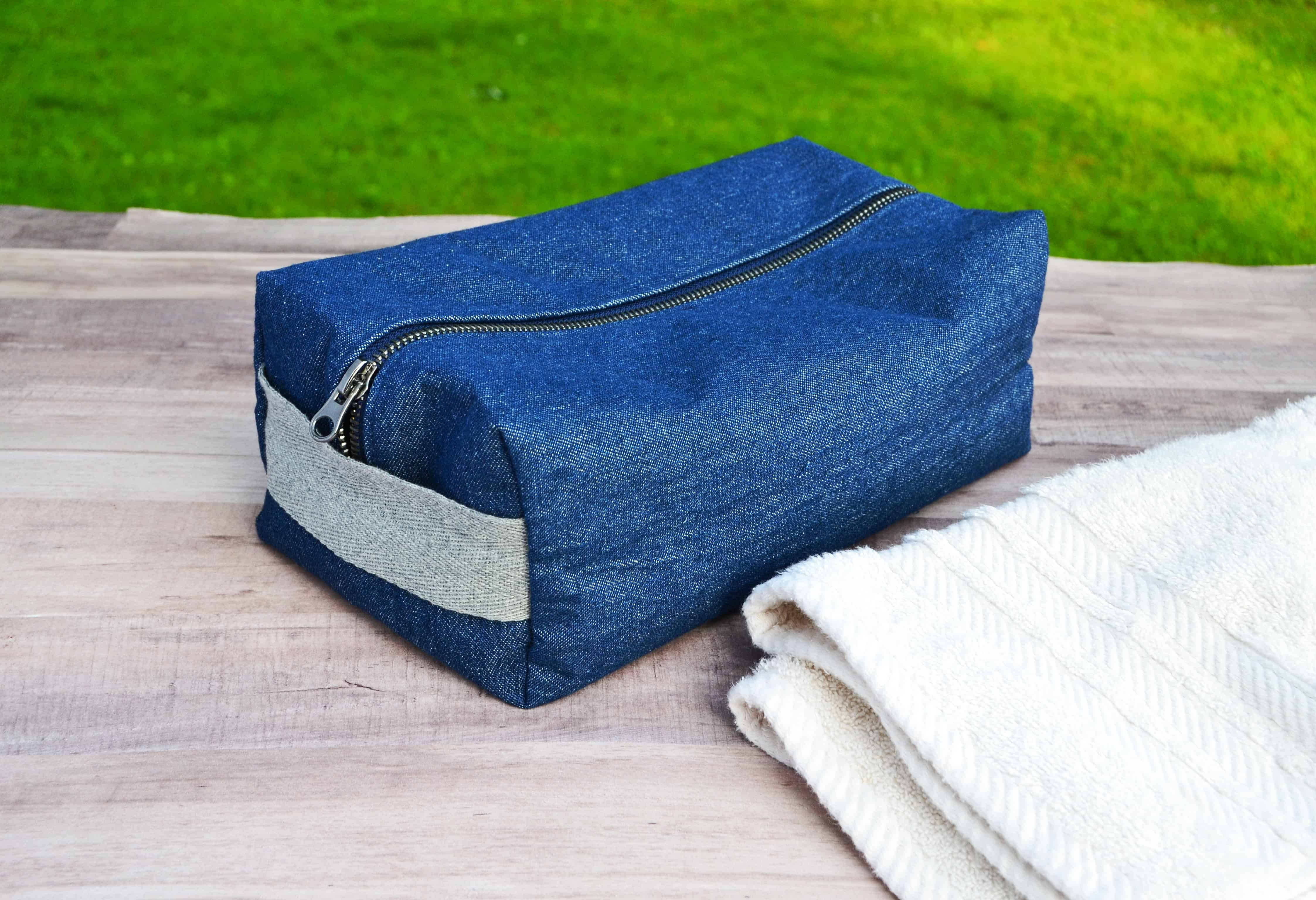 DIY Toiletries Bag with a white towel