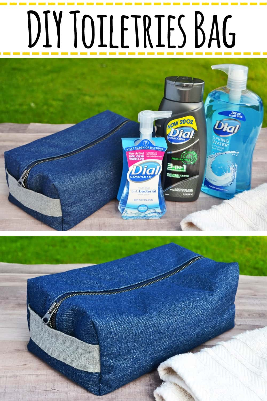 DIY Toiletries Bag Tutorial: Make your own boxy toiletries bag using this easy to follow tutorial. #sewing #diytoiletriesbag #howtosewatoiletrybag