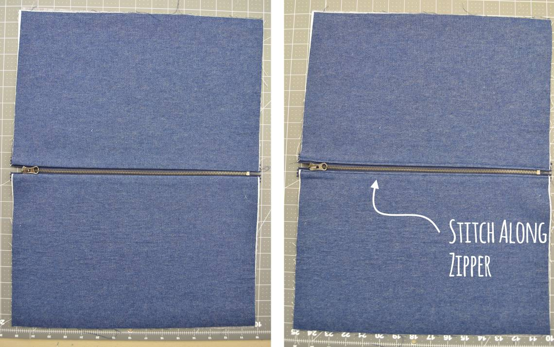 topstitching along sides of zipper