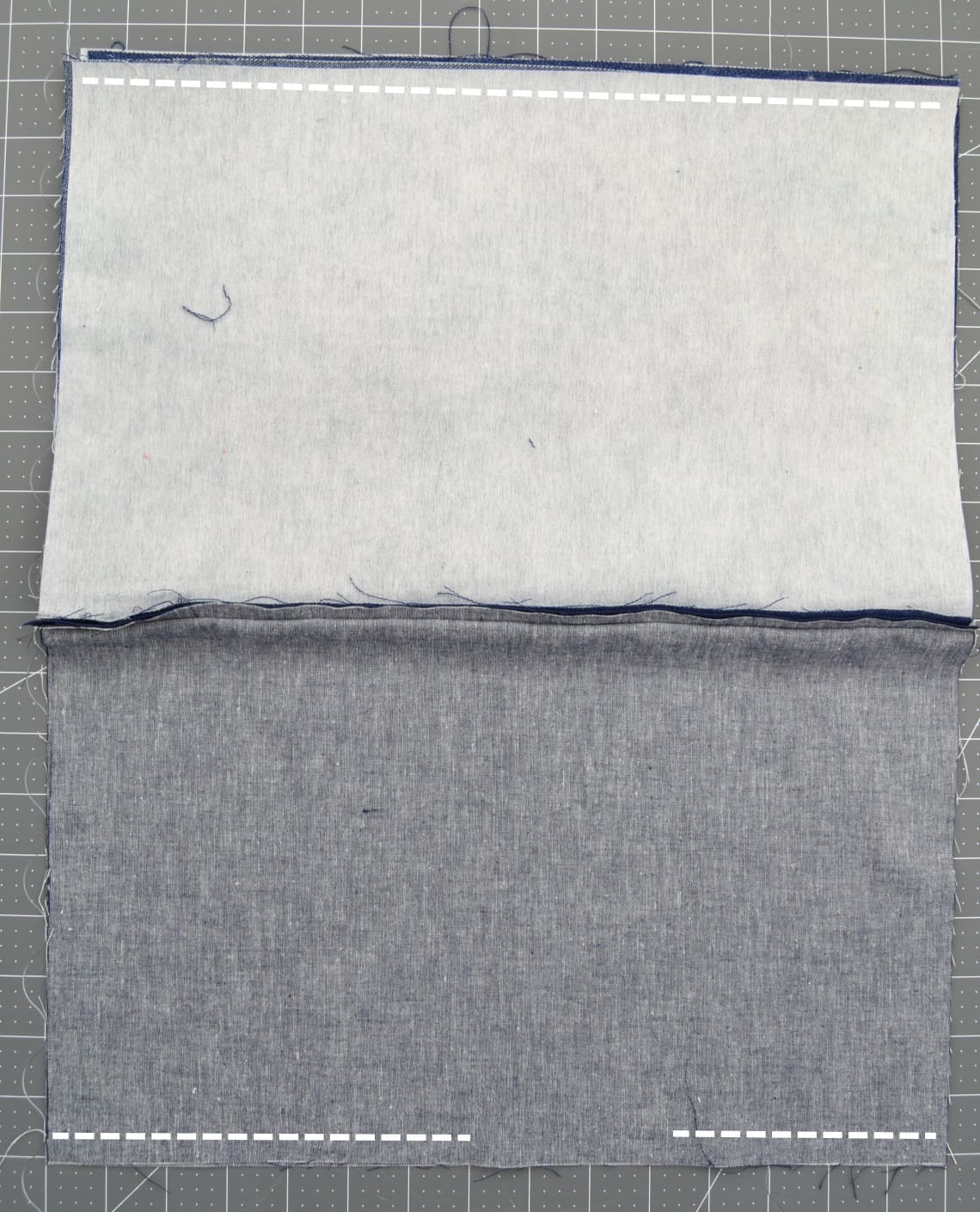 lines showing to sew along top and bottom but a gap left in bottom