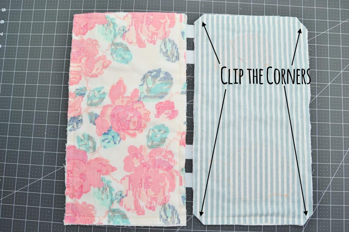The left side is the burp cloth once the two pieces are sewn together and the right side is the burp cloth once the corners have been clipped.