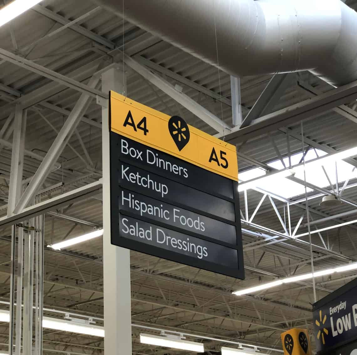 Walmart rice aisle sign