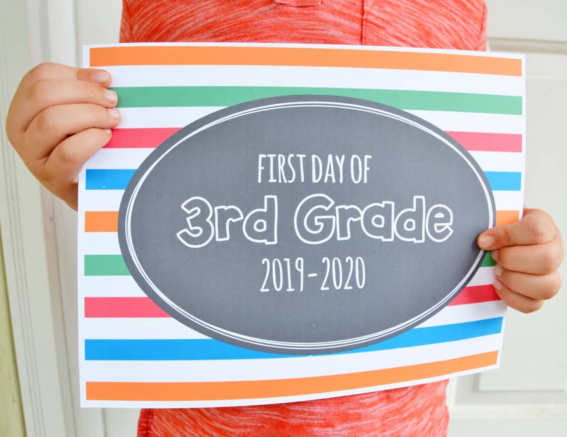 picture relating to First Day of 3rd Grade Sign Printable called Printable 1st Working day of Higher education Symptoms 2019 Mary Martha Mama