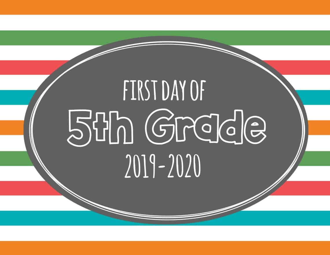 photograph relating to First Day of 5th Grade Printable named Printable Initial Working day of University Indications 2019 Mary Martha Mama