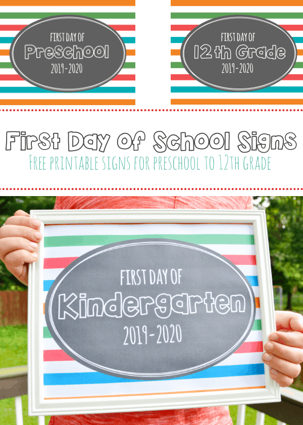 Printable First Day of School Signs 2019- Free printable first day of school signs for preschool through 12th grade. #firstdayofschoolsigns2019 #printablefirstdayofschoolsigns2019 #backtoschool