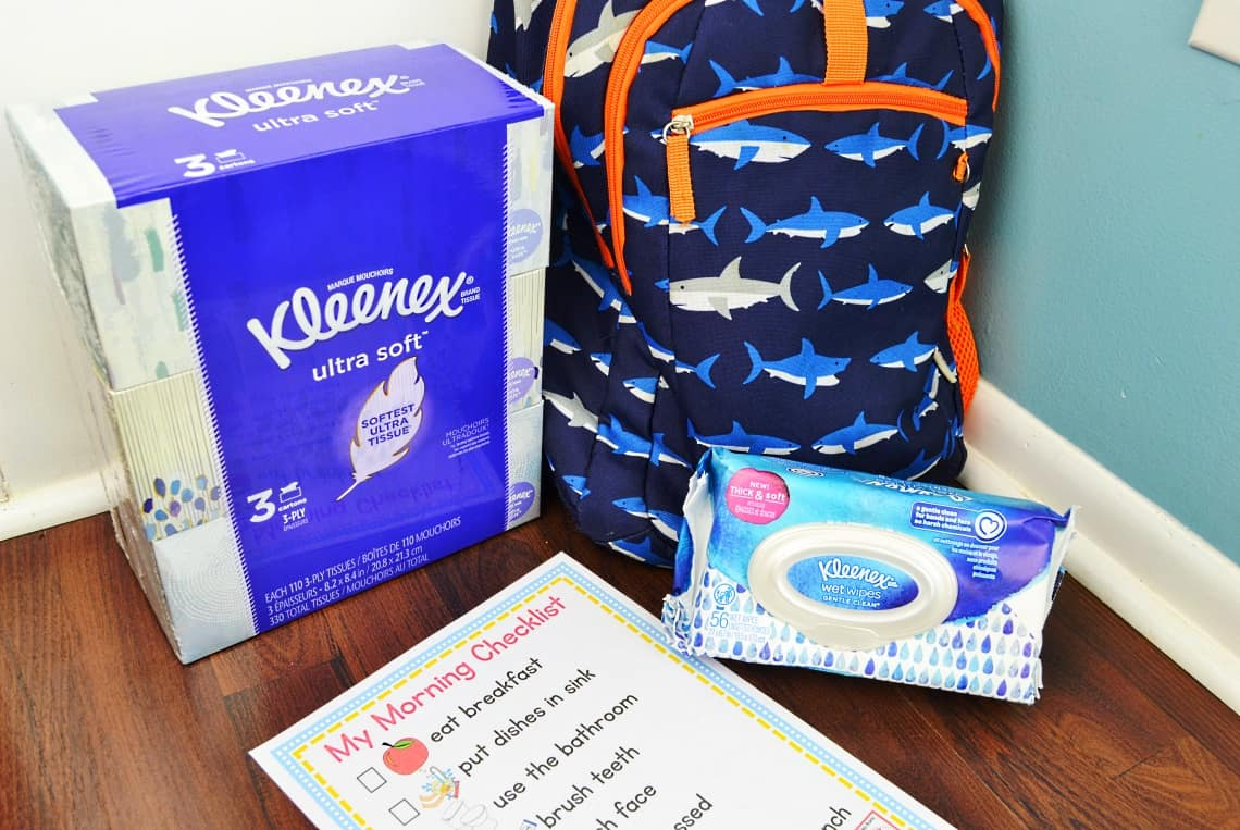morning checklist for kids with tissues, hand wipes, and a backpack