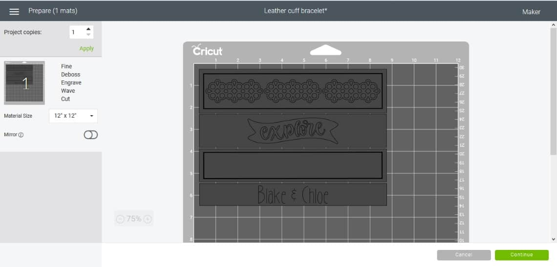 the screen in Cricut Design Space that shows the design laid out on the cutting mat