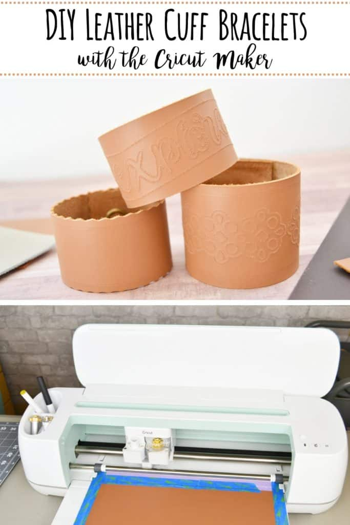 DIY Leather Cuff Bracelets with the Cricut Maker- You can use your Cricut Maker and QuickSwap Tools to make a variety of custom leather cuff bracelets. #cricutcreated #cricutprojects #cricut #diyleathercuffbracelets