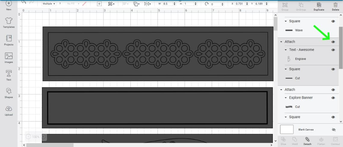 the svg file in Cricut Design Space with an arrow to show the button to hide elements