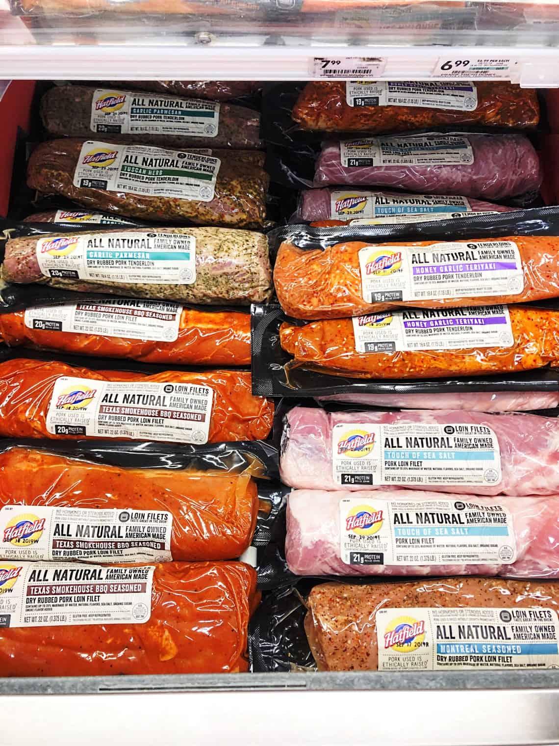 Hatfield pork tenderloins and loin filets in the store