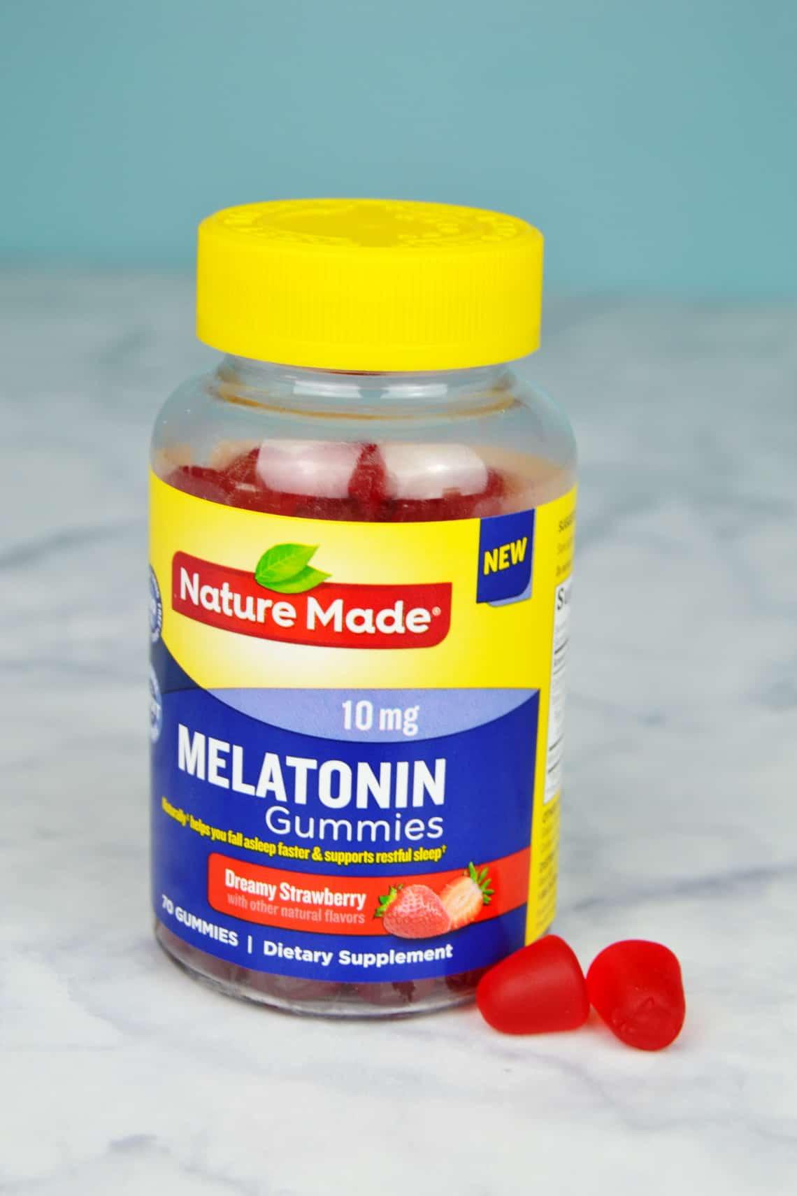 melatonin bottle on the counter