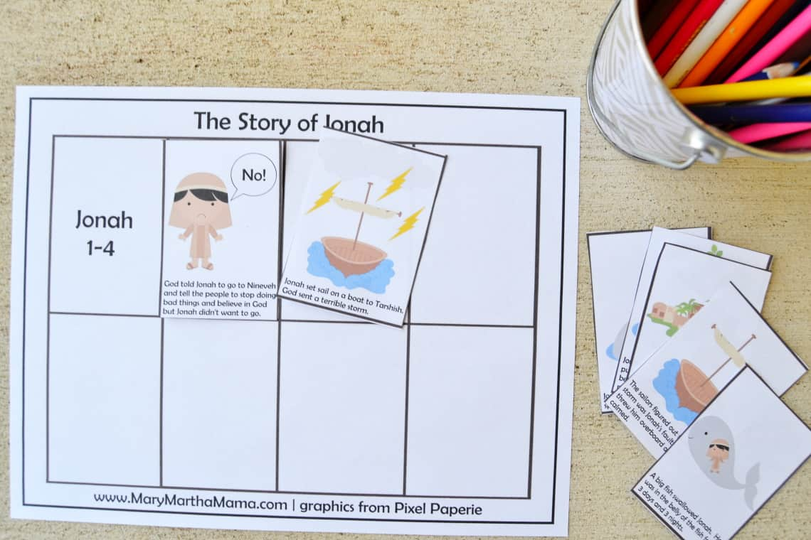 story sequencing activity for Jonah and the Whale Activity Packet