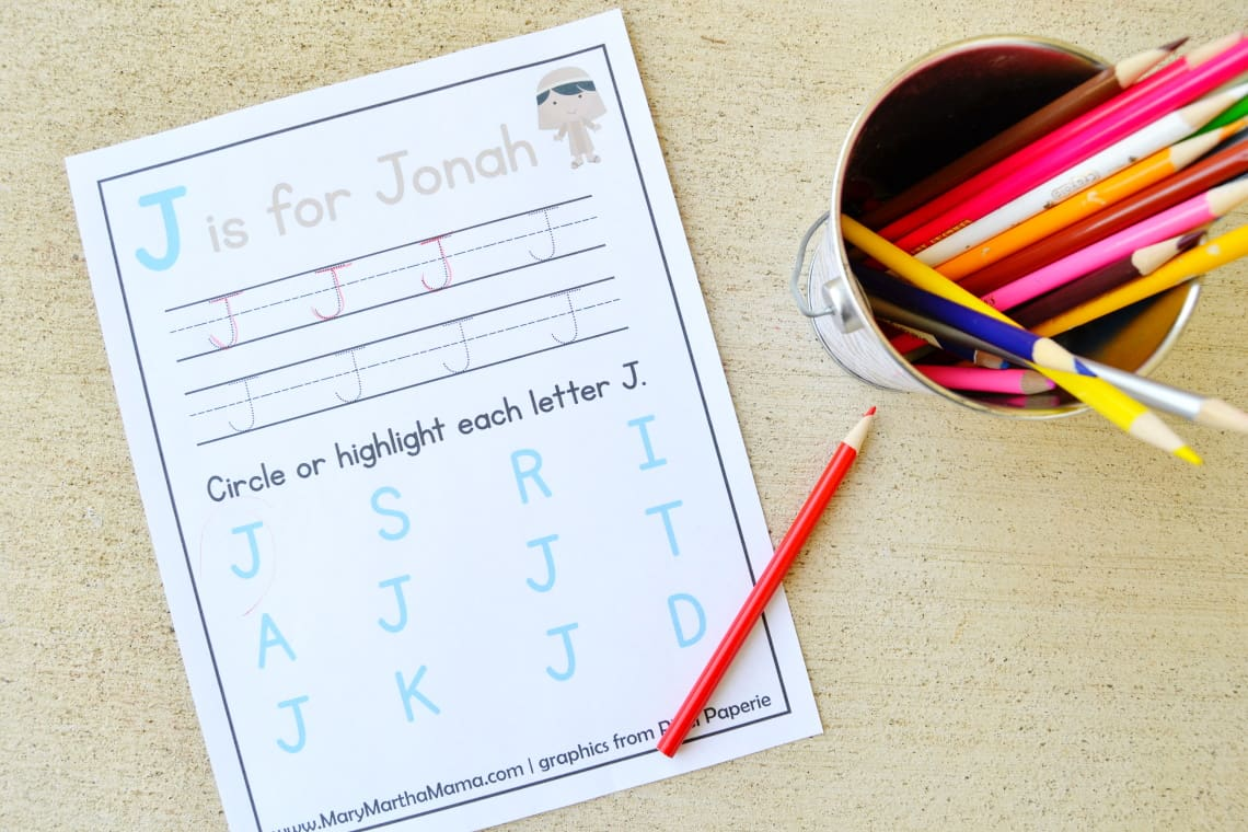 one of the Jonah and the Whale Activities, the J is for Jonah page