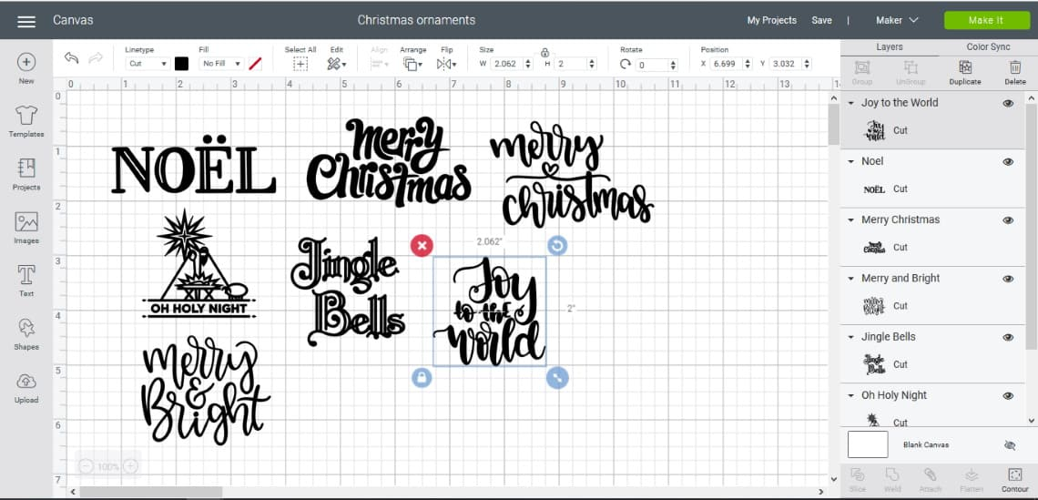 Making Christmas Ornaments with Cricut- the different christmas images in cricut design space
