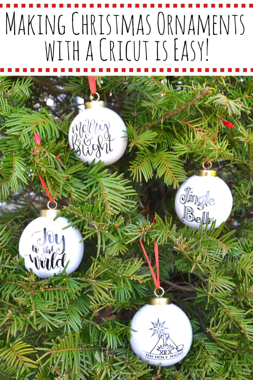 Making Christmas ornaments with Cricut is super easy- Start with ceramic Christmas ornaments and apply a Christmas image in vinyl and you've got a great, personalized Christmas ornament. #makingchristmasornamentswithcricut #diychristmasornaments #cricutprojects