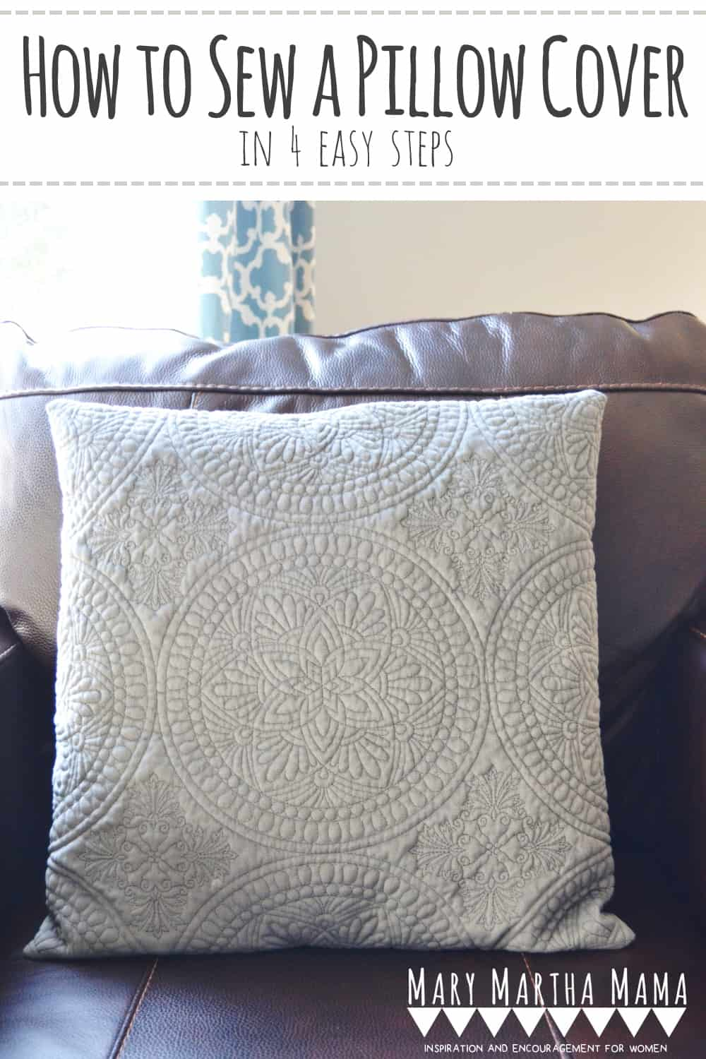 How to Sew a Pillow Cover in 4 Easy Steps- You can make your own throw pillow covers following this super simple tutorial. #howtosewapillowcover #howtosewapillow #sewingprojects