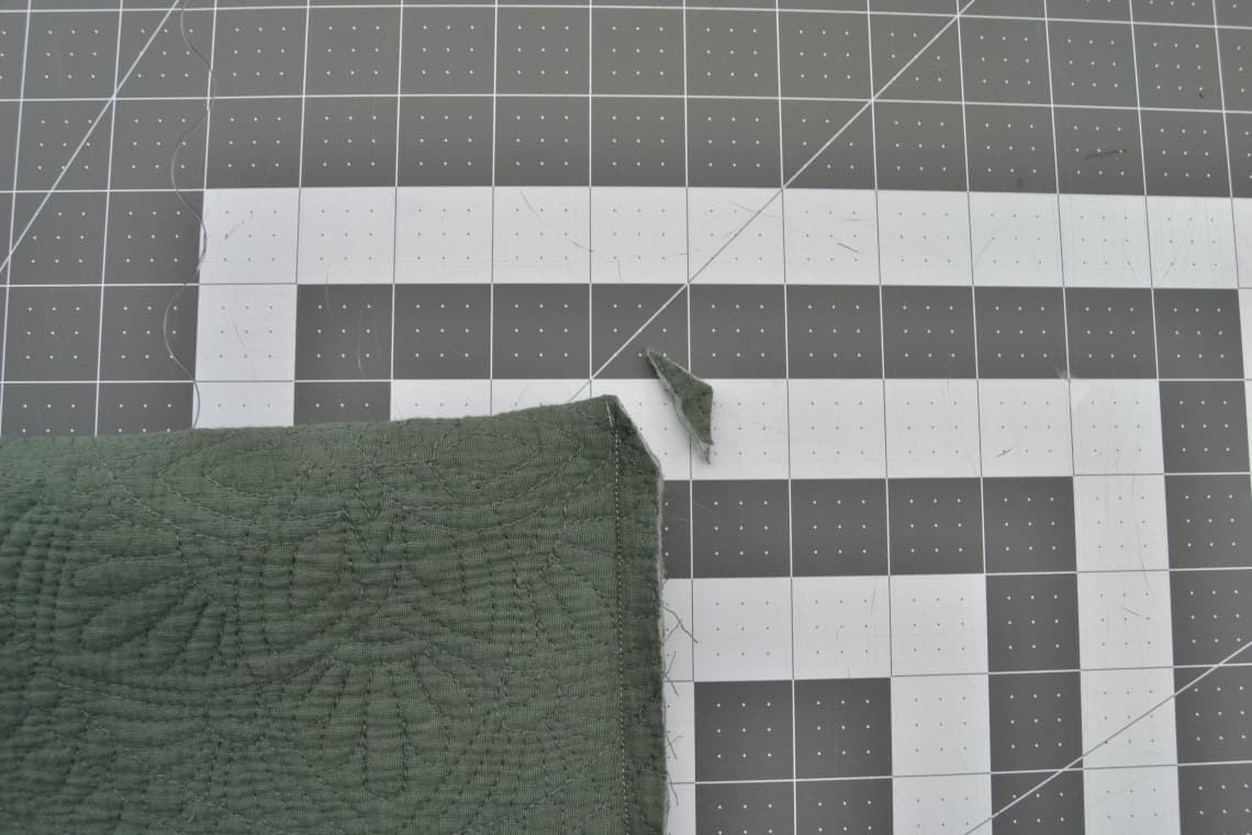the corner of the pillow cover clipped