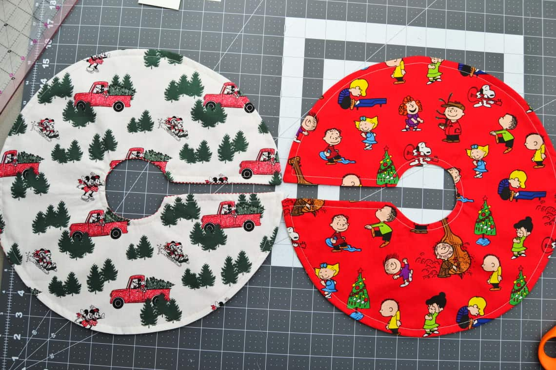 both mini tree skirts with the topstitching all done