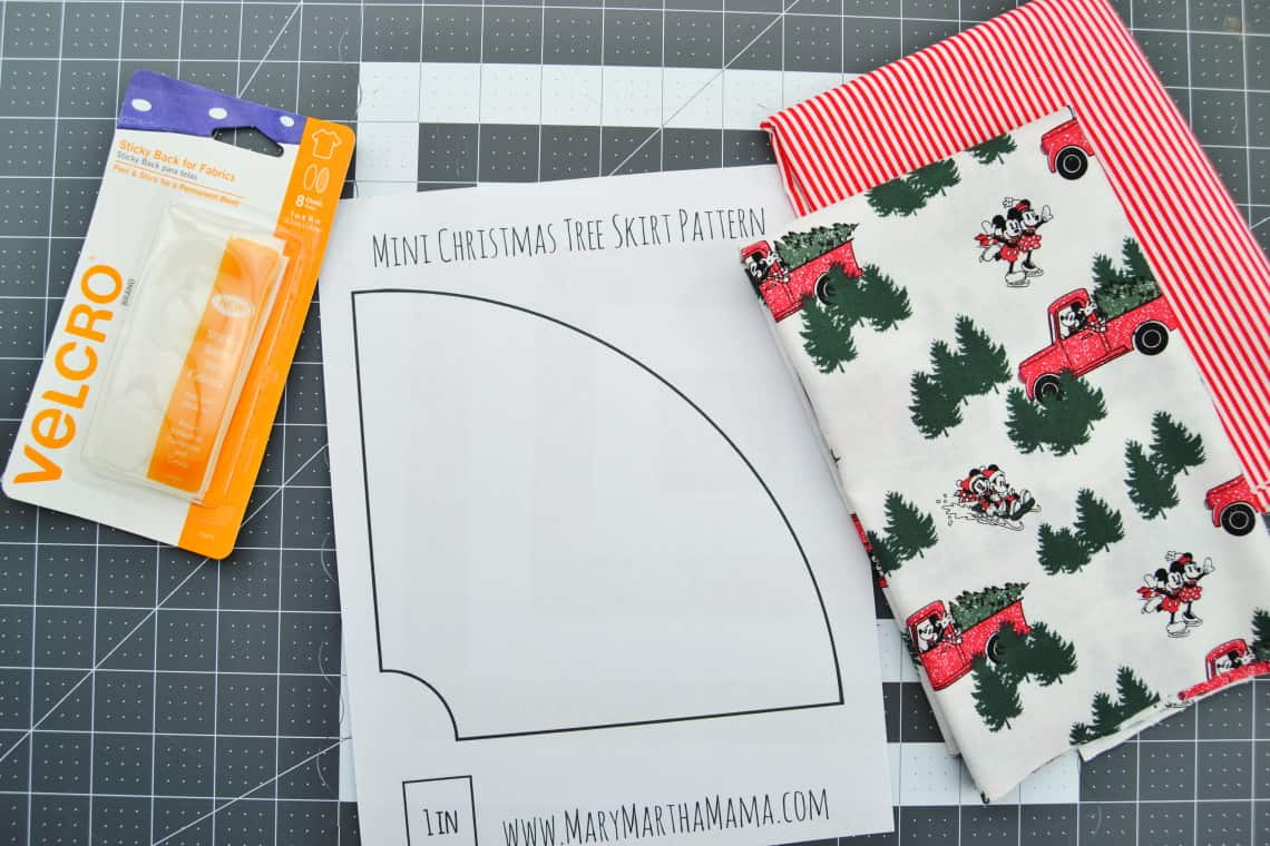 fabric and supplies to make a mini Christmas tree skirt