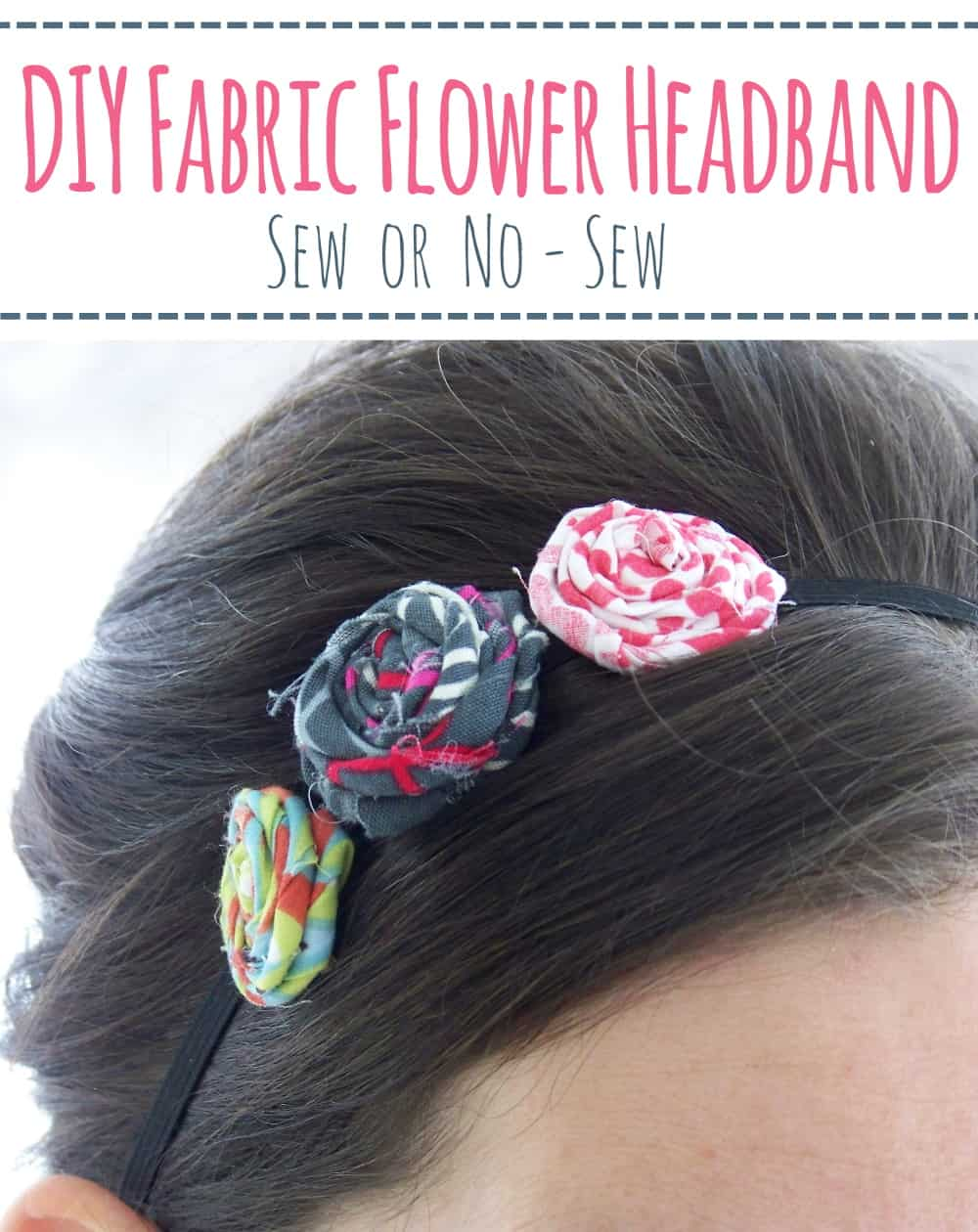 DIY Fabric Flower Headband- Learn how to make a fabric flower headband following this easy tutorial. #diyflowerheadband #fabricflowerheadband #diyheadband