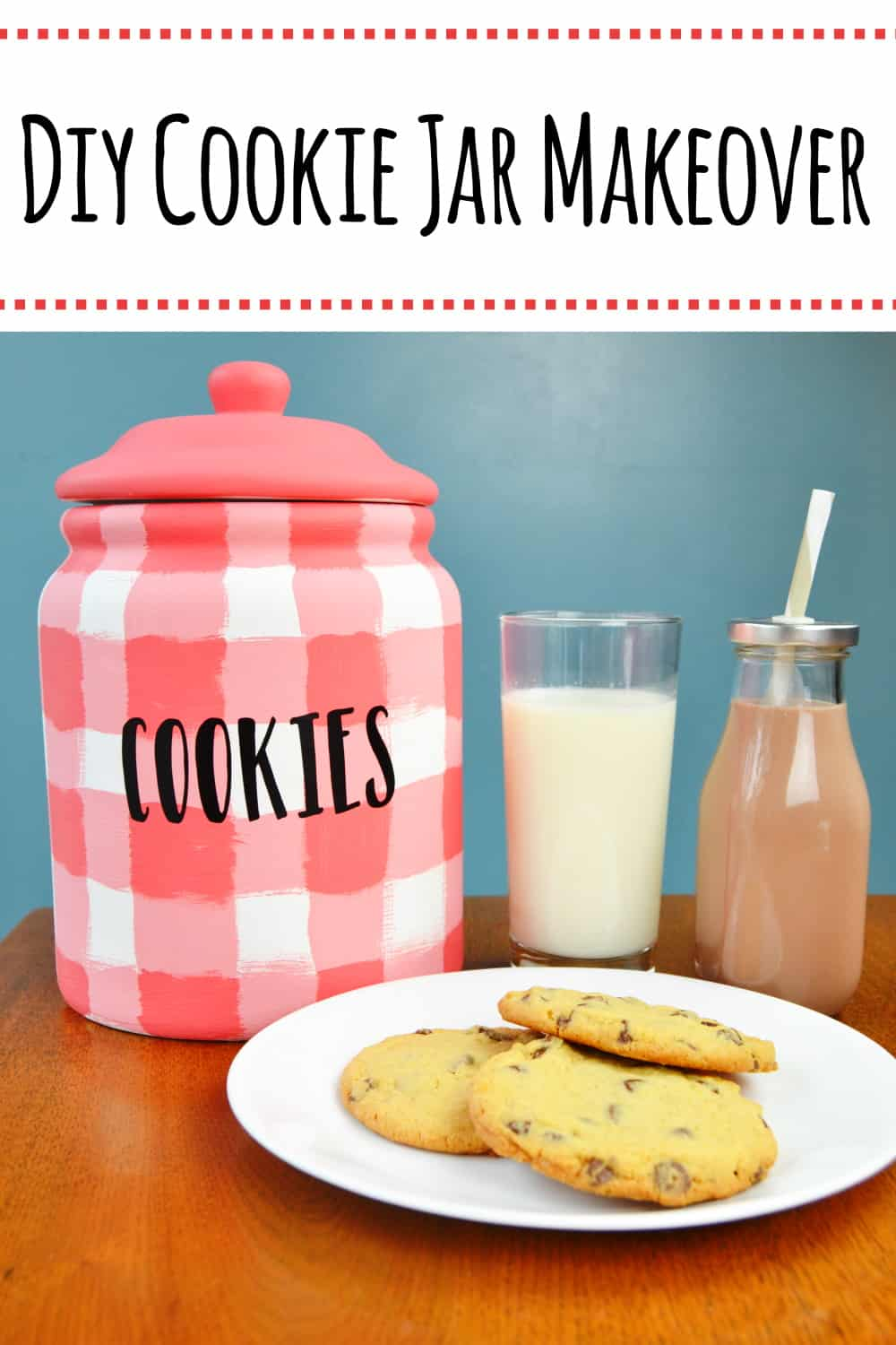 DIY Cookie Jar Makeover- Make over an old cookie jar with a rustic farmhouse style buffalo check following this tutorial. Perfect for milk and cookies time together as a family. #diycookiejar #buffalocheck #RealMilkMoment #LoveWhatsReal