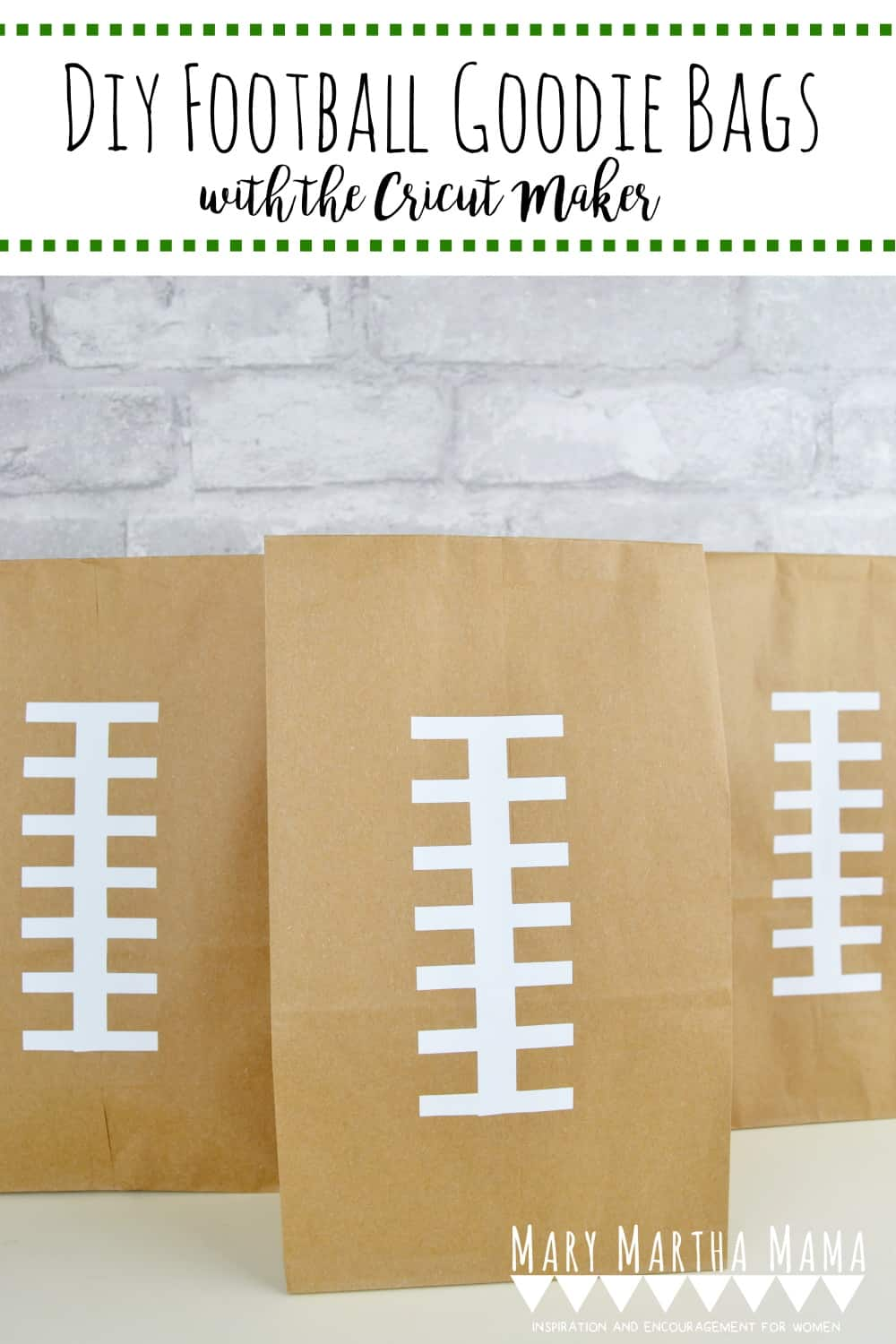 DIY Football Goodie Bags- Make these easy football-themed goodie bags with your Cricut with this free SVG file. #diyfootballgoodiebags #footballsvg #footballlacessvg