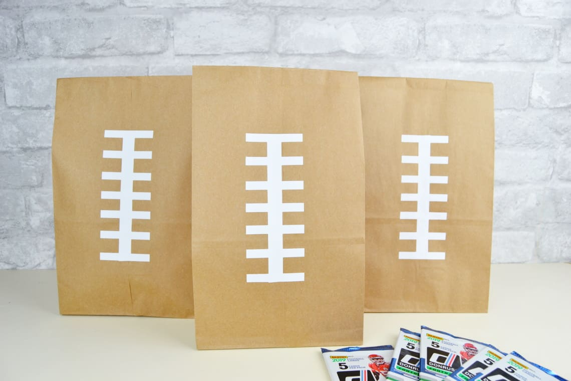 DIY Football Goodie Bags with football cards
