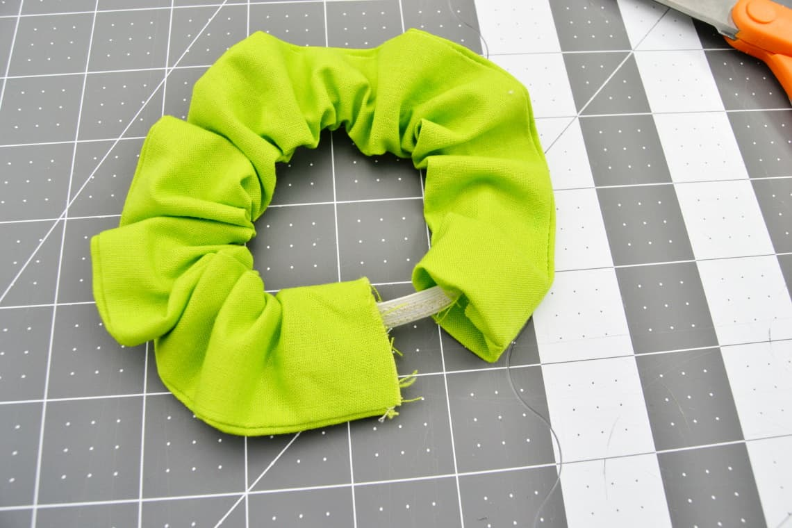 The elastic sewn