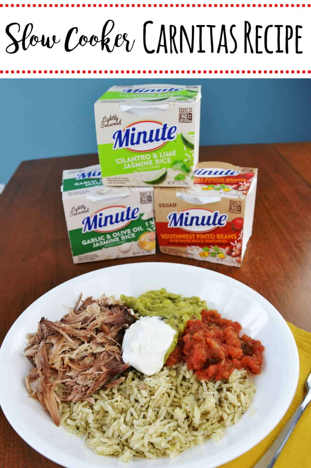 #AD Slow Cooker Carnitas Recipe- Follow this simple recipe to make pork carnitas in your slow cooker. These are perfect for making into rice bowls with Minute® Ready to Serve Rice. #RiceMadeEasy #CollectiveBias #slowcookercarnitasrecipe