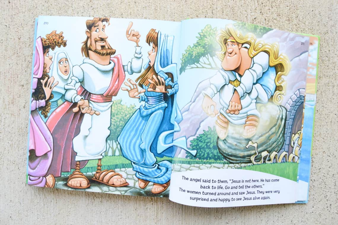 The Read with Me Bible for Toddlers with the Easter Story opened